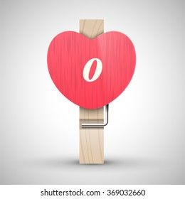 Clothes wooden heart pin with lowercase letter o vector illustration. Decorative wooden pin best for Valentines day. Alphabet letter.