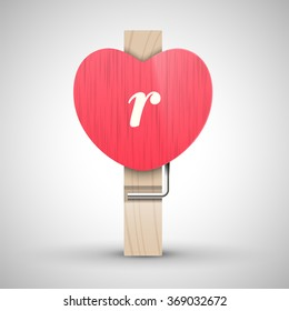 Clothes wooden heart pin with lowercase letter r vector illustration. Decorative wooden pin best for Valentines day. Alphabet letter.