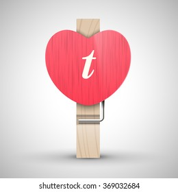 Clothes wooden heart pin with lowercase letter t vector illustration. Decorative wooden pin best for Valentines day. Alphabet letter.