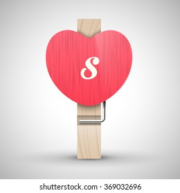 Clothes wooden heart pin with lowercase letter s vector illustration. Decorative wooden pin best for Valentines day. Alphabet letter.