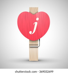 Clothes wooden heart pin with lowercase letter j vector illustration. Decorative wooden pin best for Valentines day. Alphabet letter.