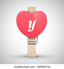 Clothes wooden heart pin with lowercase letter y vector illustration. Decorative wooden pin best for Valentines day. Alphabet letter.