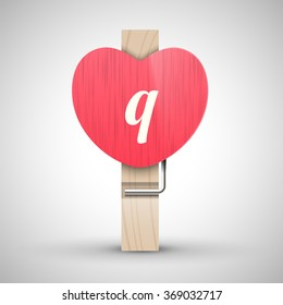Clothes wooden heart pin with lowercase letter q vector illustration. Decorative wooden pin best for Valentines day. Alphabet letter.