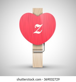 Clothes wooden heart pin with lowercase letter z vector illustration. Decorative wooden pin best for Valentines day. Alphabet letter.