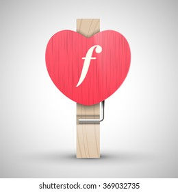 Clothes wooden heart pin with lowercase letter f vector illustration. Decorative wooden pin best for Valentines day. Alphabet letter.