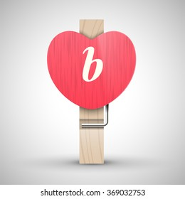 Clothes wooden heart pin with lowercase letter b vector illustration. Decorative wooden pin best for Valentines day. Alphabet letter.