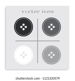 Clothing button flat black and white vector icon.