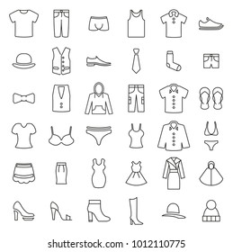 Clothing or Clothes or Fashion for Man & Woman Icons Thin Line Vector Illustration Set