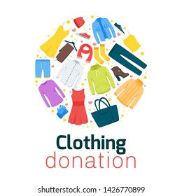 Clothing donation flat vector poster template. Thrift shop, second hand store web banner design. Homeless, people in need social help. Men and women garment illustration. Apparel selling and buying