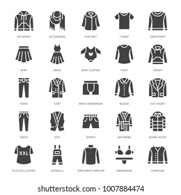 Clothing, fasion flat glyph icons. Mens, womens apparel - dress, down jacket, jeans, underwear, sweatshirt. Silhouette signs for clothes and accessories store. Pixel perfect 64x64.
