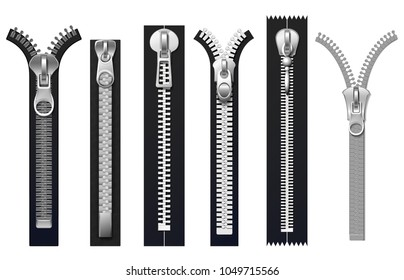 Clothing fasteners, metal zippers isolated vector set. Fashion fastener zip, zipper for clothing illustration