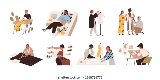 Clothing and footwear design. Set of designers creating, constructing and sewing fashion collection, drawing dress sketches, taking measures, cutting fabric. Flat vector illustration isolated on white