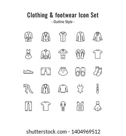 clothing and footwear icons vector. clothing and footwear icon set. outline icon style design