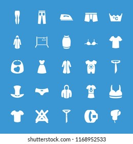 Clothing icon. collection of 25 clothing filled icons such as baby onesie, man underwear, bra, t-shirt, skirt, dress, overcoat. editable clothing icons for web and mobile.