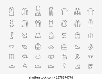 Clothing icon set in linear style. Fashion vector illustration