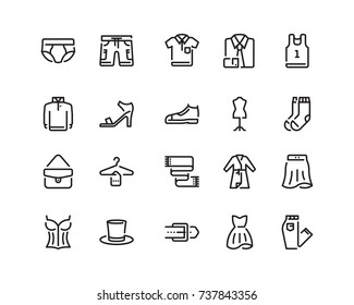 Clothing icon set, outline style