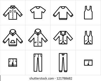 Clothing icons set 1. Set  of 12 men and unisex clothing icons in black and white. Easy to edit, resize and colorize.