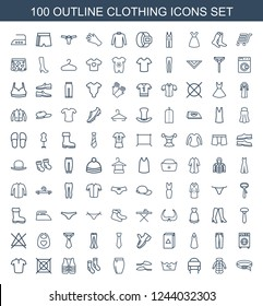 clothing icons. Set of 100 outline clothing icons included belt, overcoat, winter hat, laundry, slippers on white background. Editable clothing icons for web, mobile and infographics.