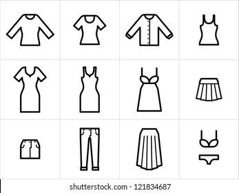 Clothing icons set 2. Set of 12 women clothing icons in black and white.