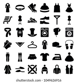 Clothing icons. set of 36 editable filled clothing icons such as baby onesie, hanger, gloves, mannequin, slippers, man shoe, t-shirt, tie, cravat, woman pants, winter hat