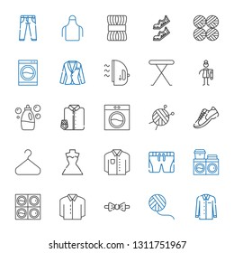 clothing icons set. Collection of clothing with shirt, wool ball, bow tie, washing machine, shorts, wedding dress, hanger, sneakers, suit and tie. Editable and scalable clothing icons.