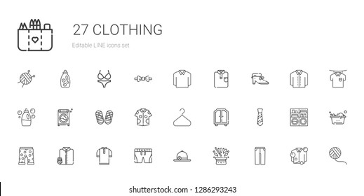 clothing icons set. Collection of clothing with trousers, hat, pamela, shorts, shirt, suit and tie, swim suit, tie, wardrobe, hanger, flip flop. Editable and scalable clothing icons.