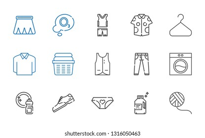 clothing icons set. Collection of clothing with wool ball, detergent, panties, shoe, washing, washing machine, jeans, vest, laundry, polo. Editable and scalable clothing icons.