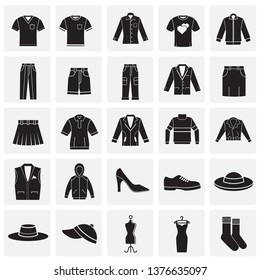 Clothing icons set on squares background for graphic and web design. Simple vector sign. Internet concept symbol for website button or mobile app