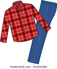 clothing. Illustration of a long sleeve shirt and jeans for men. Winter clothes