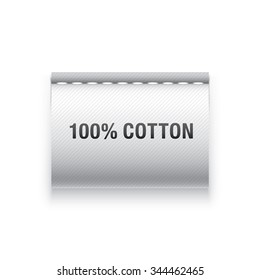 "Clothing label with ""100% cotton"" sign. Clothe tag. Vector cloth label."