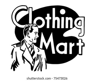 Clothing Mart - Retro Ad Art Banner