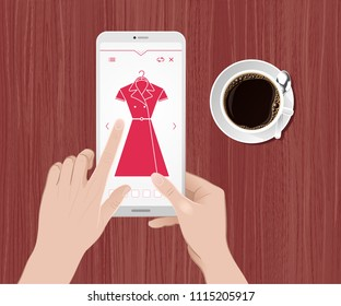 Clothing Online Shopping. Vector illustration on the subject of 'Internet Trading / E-Commerce'.