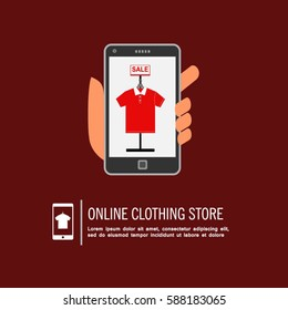 Clothing online store. Selling shirt online using mobile phone app vector