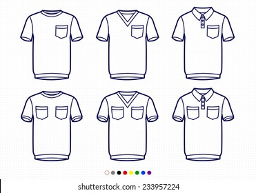 Clothing Pictograms, One Color Outline, T-Shirts With Pockets, Regular, V Neck, Polo