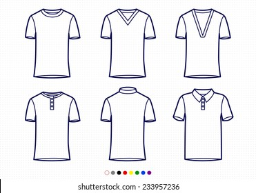 Clothing Pictograms, One Color Outline, T-Shirt Collection Regular, V Neck, Buttoned, Bicycle, Polo