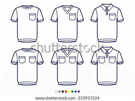 a911b8c4f2f93 Clothing Pictograms One Color Outline T Shirts Stock Vector (Royalty ...