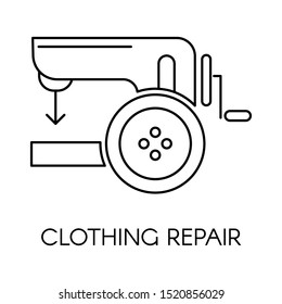 Clothing repair logotype or icon vector. Isolated sewing machine for fixing damaged clothes of customers. Tailoring or atelier service, custom orders and bespoke outfit. Colorless appliance flat style