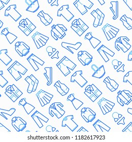 Clothing seamless pattern with thin line icons: shirt, shoes, pants, hoodie, sneakers, shorts, underwear, dress, skirt, jacket, coat, socks. Modern vector illustration.