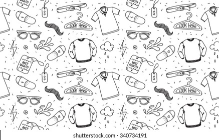 Clothing seamless texture. Pattern. Background for store, shop or package. Black and white pattern with t-shirt, polo, glasses. Hipster style