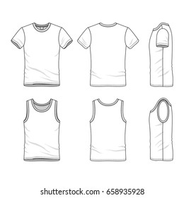Clothing set. Blank vector templates of white t-shirt and vest. Fashion illustration. Line art design.