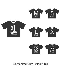 Clothing size  label or tag, icon in the form of T-shirts