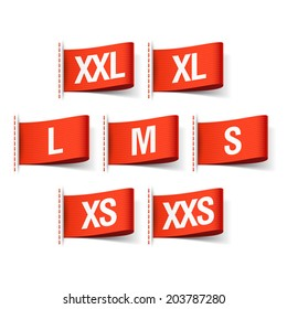 Clothing size labels. Vector.