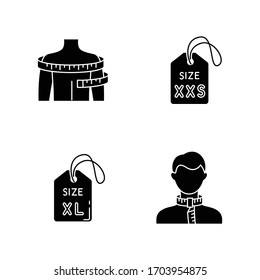 Clothing size tags and body measuring black glyph icons set on white space. XS and XXL size labels, neck and shoulders circumference. Bespoke clothing silhouette symbols. Vector isolated illustration