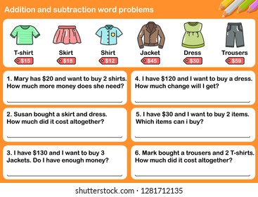 At the clothing store, Addition and Subtraction word problems - Worksheet for education.