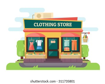 Clothing store or boutique. Facade store with landscape. Vector flat design illustration