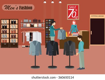 Clothing store, Boutique indoor of men's cloths fashion, tailor shop, interior building, vector illustration.