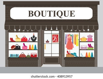 Clothing store building and interior with products on shelves, Shopping fashion, bags, shoes, accessories on sale, shopping vector illustration.