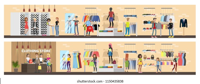 Clothing store interior. Clothes for men and women. Counter, fitting rooms and shelves with dresses. Vector flat illustration