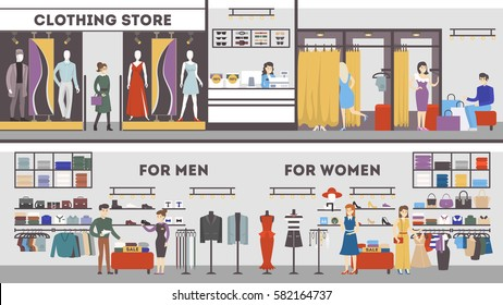 Clothing store interior set. Dressing room, men's and women's fashion.