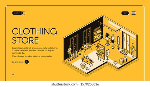 Clothing store isometric landing page. Empty shop interior with goods on shelves, cashier desk, sale and discount signboards, mannequins with dress samples, 3d vector line art illustration, web banner